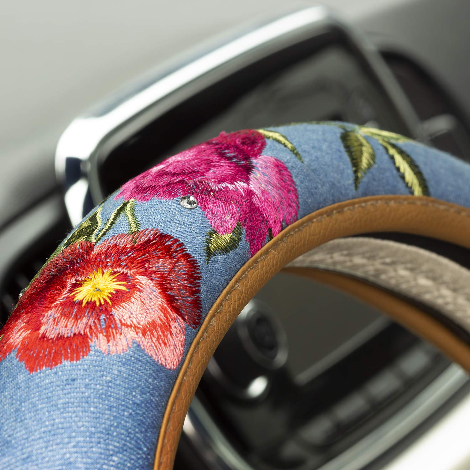 Pilot Automotive SWR-0169 Swarovski Floral Denim Steering Wheel Cover