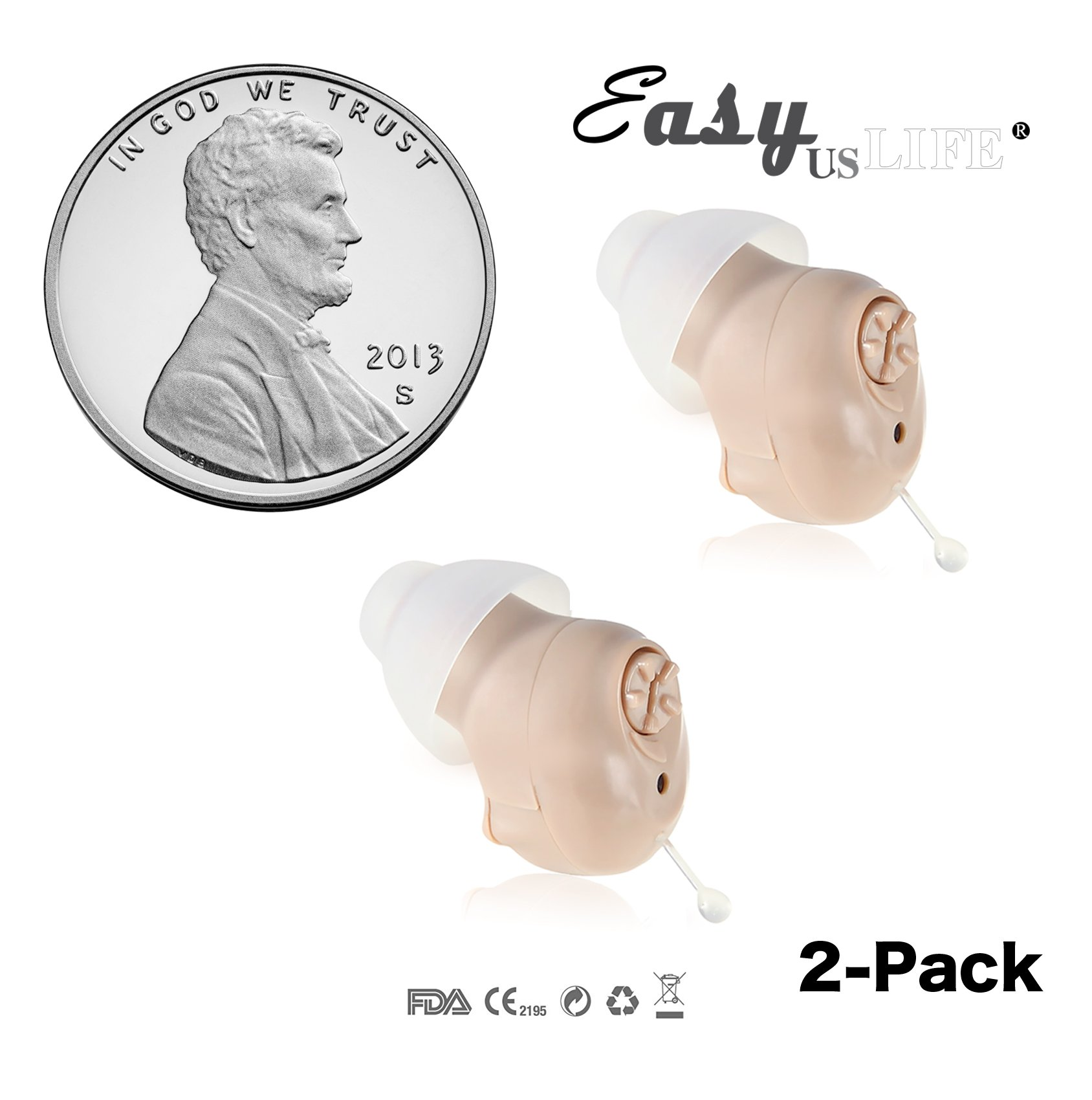 Super Mini Size, Half Penny-Sized ,In-The-Canal (ITC) ,2-Pack, New Digital Hearing Amplifiers ,Clearly Technology, Interchangeable , Suitable For Men and Women, Trademark: Easyuslife