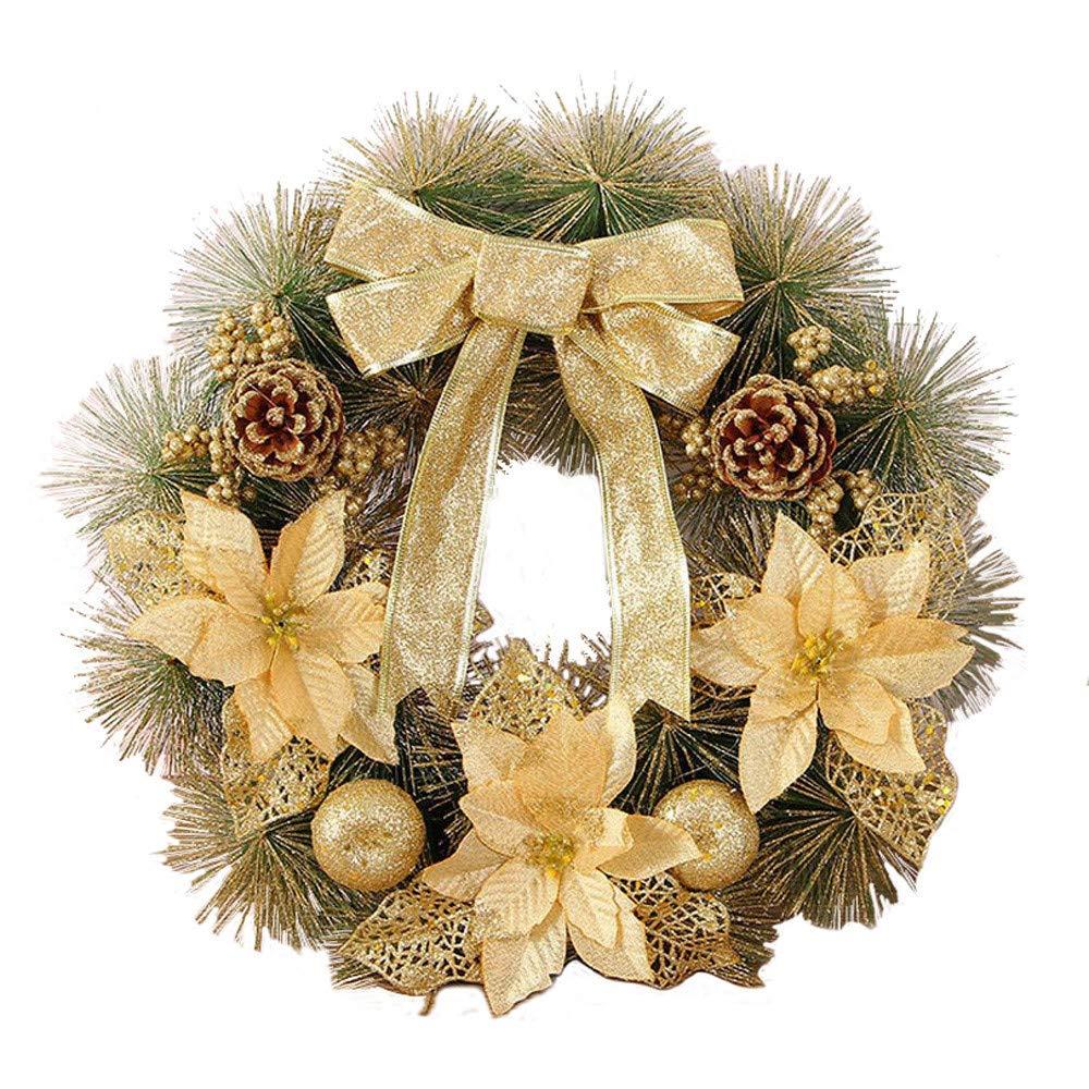 Ouneed- 40CM Couronne de Noel Dore Guirlandes Couronne de Porte pour Noel Decoration (A)