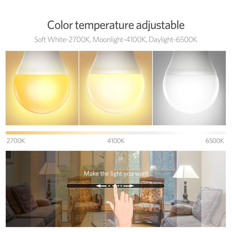 Smart Lampe, Wlan Lampe 2700K-6500K RGBW effiziente Wärmeableitung LED Lampe dimmbar Farbe steuerbar via APP unbeschränkte Modi, kompatibel mit Google Home & Amazon Alexa, energiesparend 7W, E27, 2 Packs [Energieklasse A+]