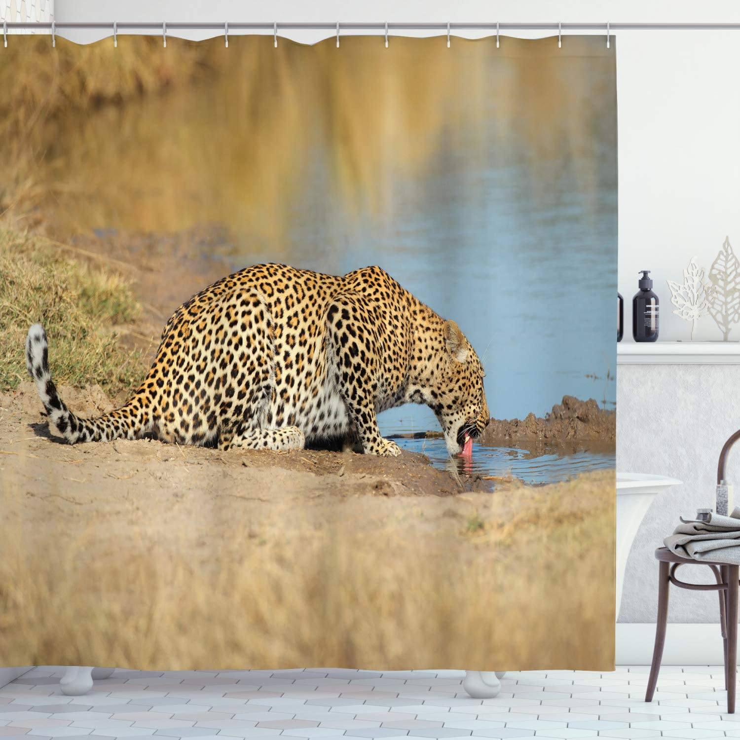 Amazon Com Ambesonne Safari Shower Curtain Leopard Panther Drinking At Waterhole Wild South Animal Documentary Print Cloth Fabric Bathroom Decor Set With Hooks 84 Long Extra Pale Brown Home Kitchen