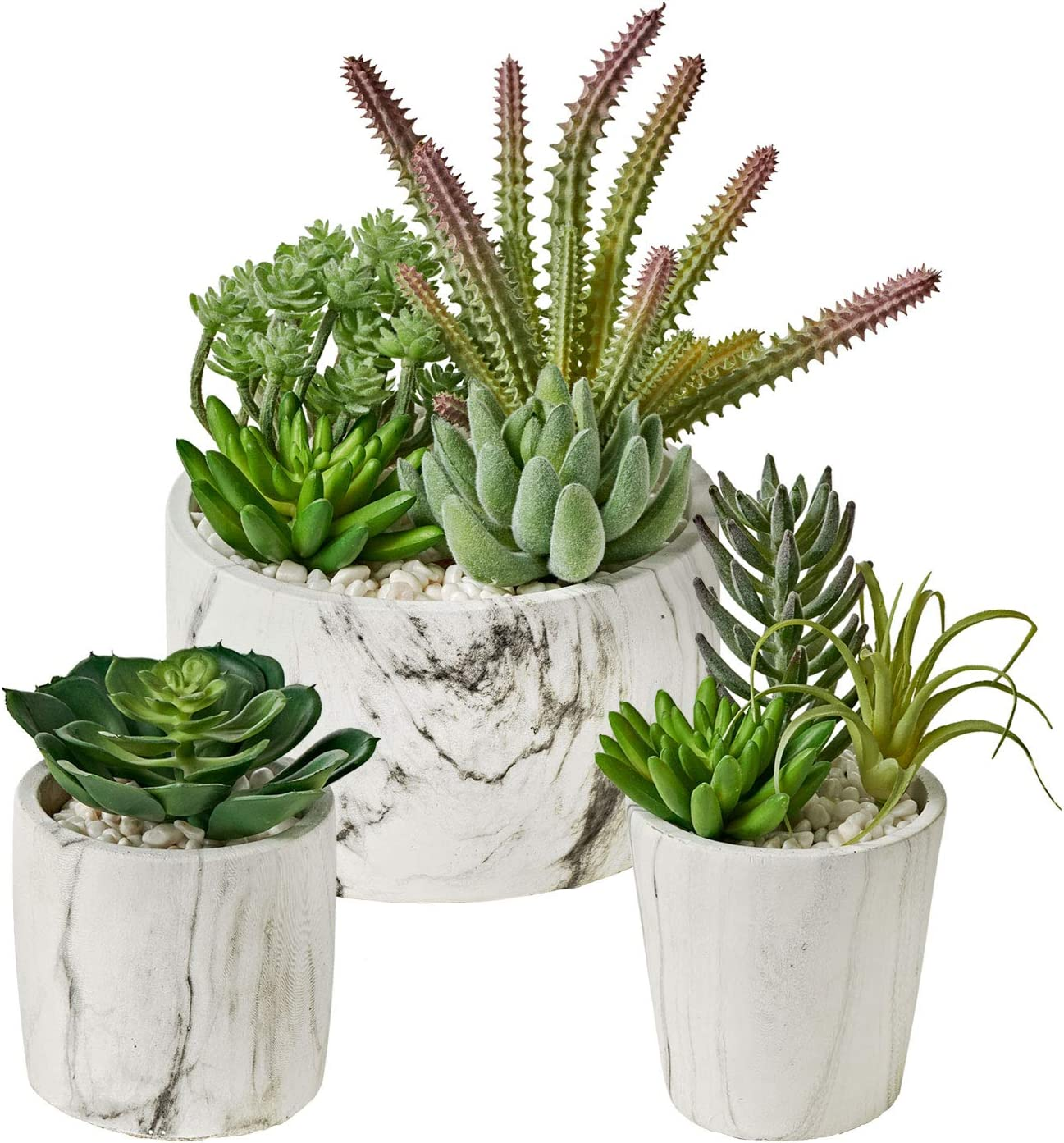 MOTINI Artificial Succulent Plants Set of 3 Fake Succulent Plants in Pots Faux Plant Succulent Decor for Home and Office