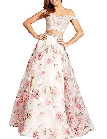 Womens Two Piece Off Shoulder Prom Dresses 2018 Long Floral Beaded Formal Evening Gowns Size 2