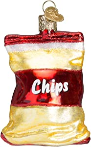 Old World Christmas Glass Blown Ornament with S-Hook and Gift Box, More Food Collection (Bag of Chips)