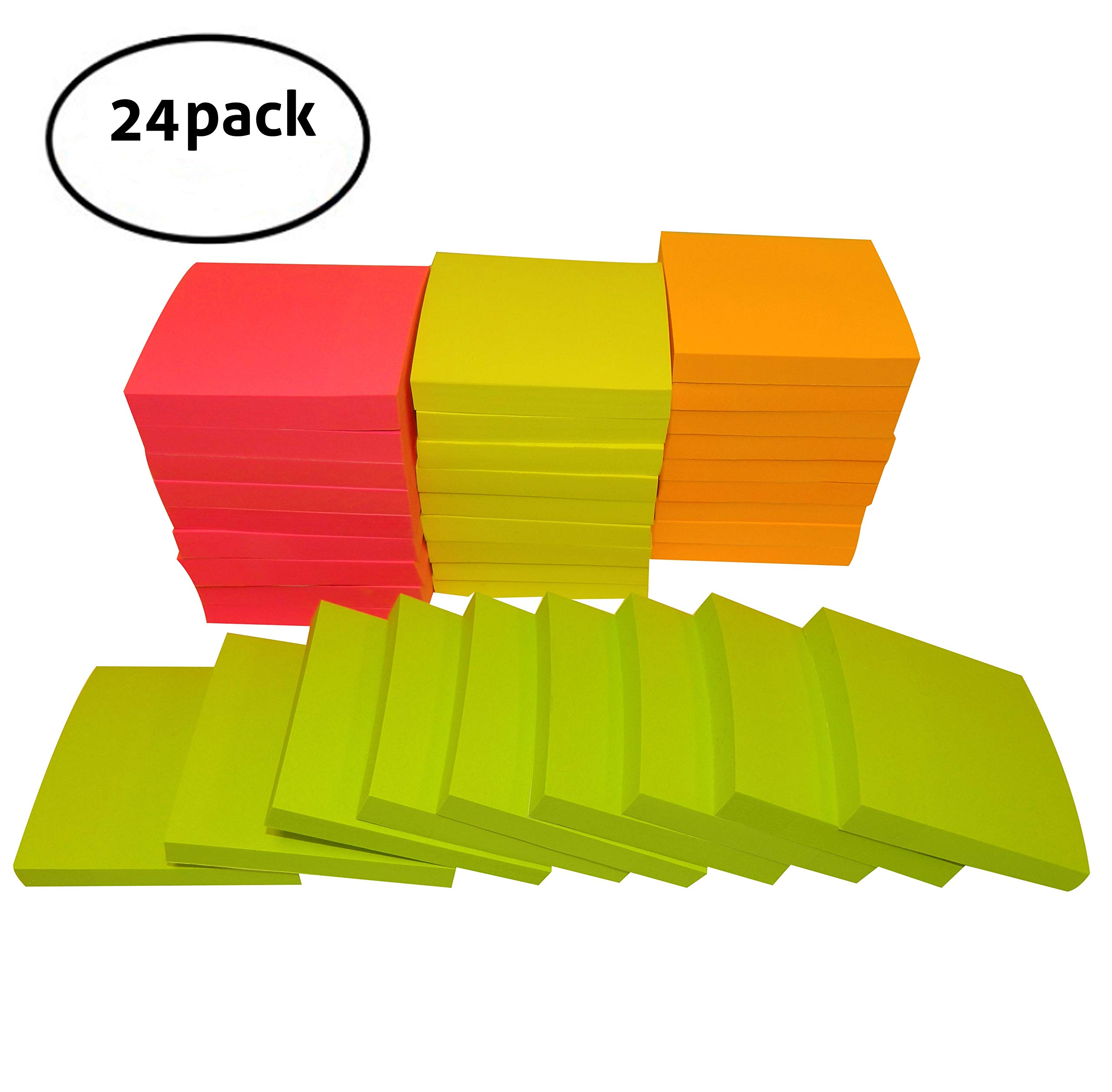VIKADI Best Value (Pack of 24) Self-Stick Memo Notes Sticky Pads 3x3 inches/100 Sheets per Pad for Office, School, Home/4 Bright Neon Colors: Orange, Pink, Yellow, Green