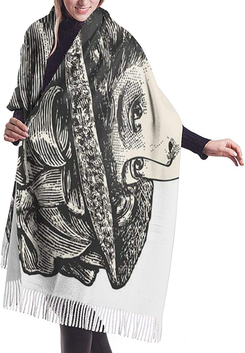 Black Elegant Lady Wearing Large Hat Vintage Engraved Catalog Of French Department Store Paris 1909 White Soft Cashmere Scarf For Women Fashion Lady Shawls,Comfortable Warm Winter Scarfs