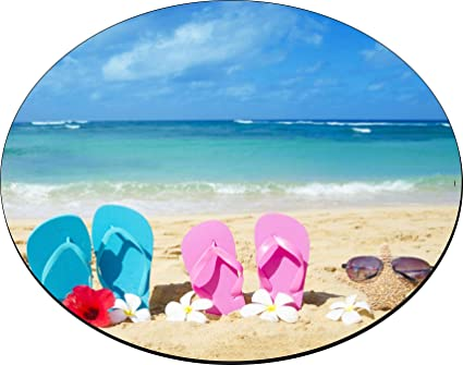 23979c44723c7 Image Unavailable. Image not available for. Color  Rikki Knight Pink Yellow Flip  Flops Starfish Red and White Flowers Design ...