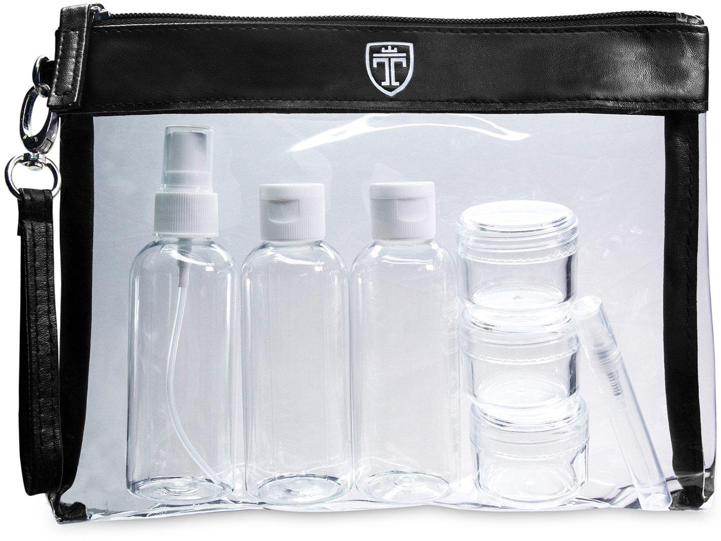 TRAVANDO ® Set da viaggio trasparente con 7 contenitori │ Kit da aereo con bottiglie da viaggio │ Contenitori per liquidi │Busta da viaggio, Set flaconi per cosmetici, Beauty case trasparente, Trousse