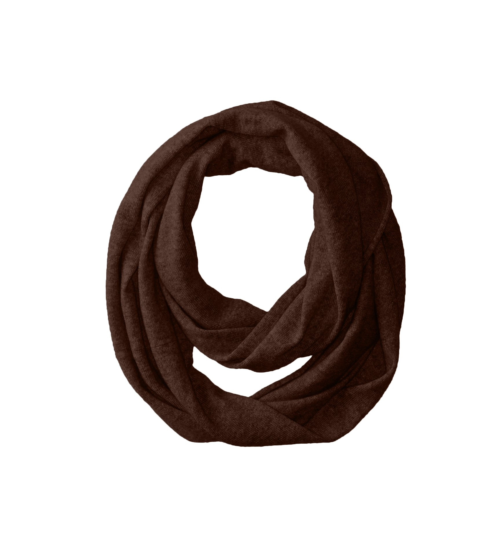 bela.nyc Women's Cashmere Solid Infinity Scarf, Chocolate Heather, One Size