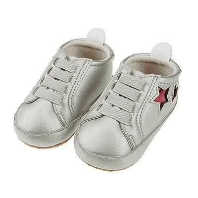 pentagramme bébé Prewalker Chaussures élastique PU première Walkers (Gris argenté 13cm)
