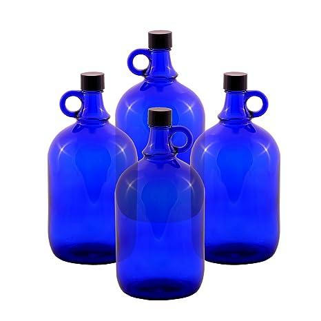 Botellas abombadas de cristal, tipo garrafa, azul, de 2 o de 5 litros (4 x 2 litros)