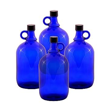 Botellas abombadas de cristal, tipo garrafa, azul, de 2 o de 5 litros (4 x 2 litros): Amazon.es: Hogar