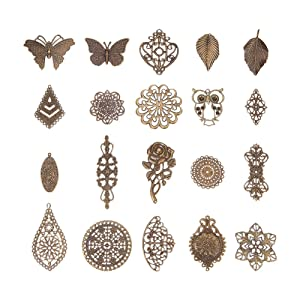PH PandaHall 120pcs20 Style Antique Bronze Nickel Free Iron Filigree Findings Connectors Charms Pendants Metal Embellishments for DIY Hairpin Headwear Earring Jewelry Making