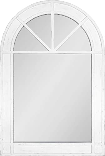 Kate and Laurel Stonebridge Rustic Arch Mirror, 24 x 36 , White, Chic Coastal Inspiration