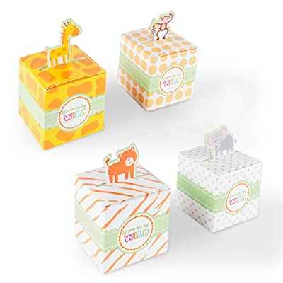Born To Be Wild Party Favor Box, Cute Jungle Themed Zoo Animals for Baby Shower, Child Birthday (24 Boxes): Kitchen & Dining [5Bkhe1401291]