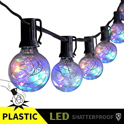 25FT LED Outdoor Patio String Lights with 25 Multicolor Shatterproof Globe G40 Bulbs, UL Certified for Porch Backyard Deck Bistro Gazebos Pergolas Balcony Gathering Wedding Party Market Decor, Black : Garden & Outdoor