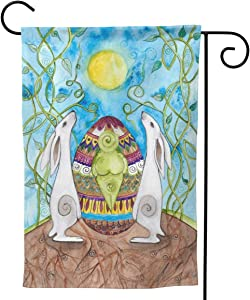 Will Budxegl Easter Ostara Flowers Hare Eggs Pagan Wicca 28 X 40 12.5X 18 Big Iarge Jumbo for Party Themed Welcome Outdoor Outside Decorations Ornament Picks Garden Yard Decor Double Sided Flag