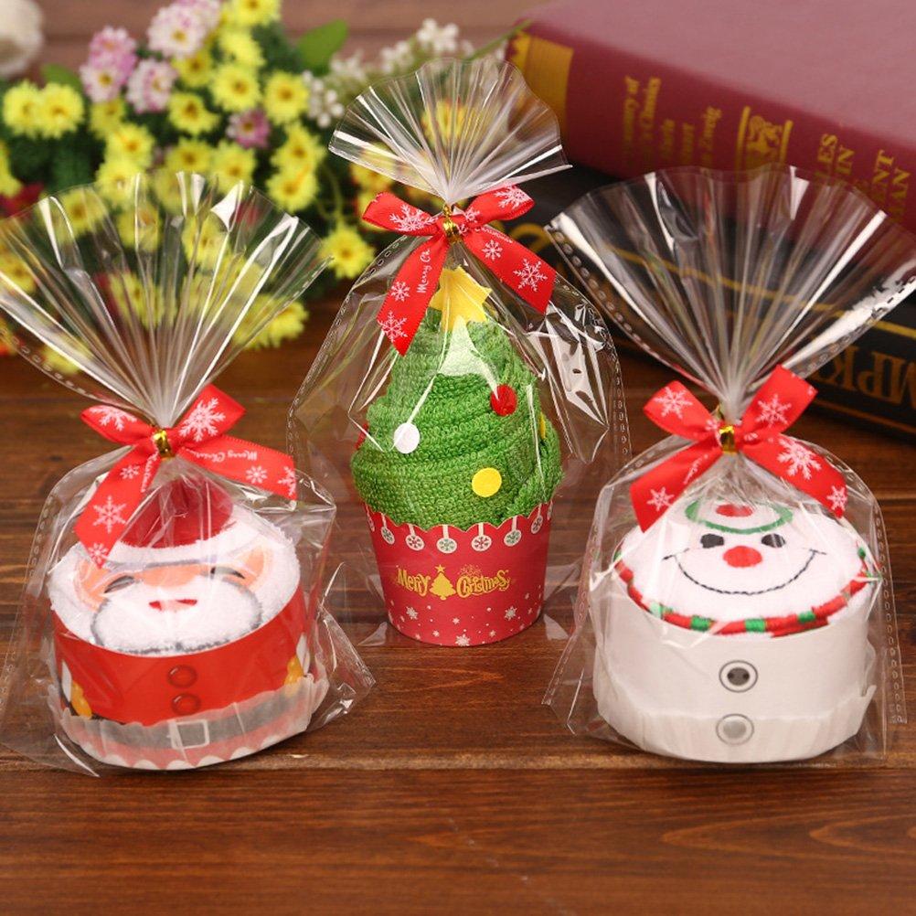 Tinksky Pastel de Navidad Modelado toalla de algodón Toallita Chic regalo para Navidad Decoración Navidad Cumpleaños regalo para los amigos (Santa): ...