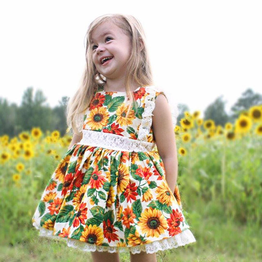 3be1b3f2da3 Amazon.com  Outtop(TM))) Toddler Children Baby Kids Girls Sleeveless Lace  Sunflower Print Dress Outfits Set Clothes  Clothing