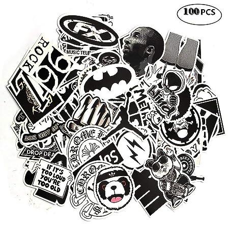 Beelittle 100 unids Pegatinas de Coches Negro Blanco Tatuajes de Vinilo Vintage Retro Pop Art Graffiti Súper Pegatinas para Teclado Macbook Laptop ...