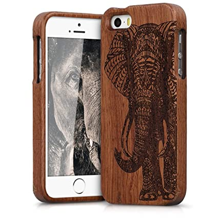 Amazon.com: kwmobile Estuche de madera natural para el ...
