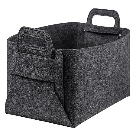 Kumfi felt storage basket foldable handmade organizer boxes containers for kids toy chests clothing laundry