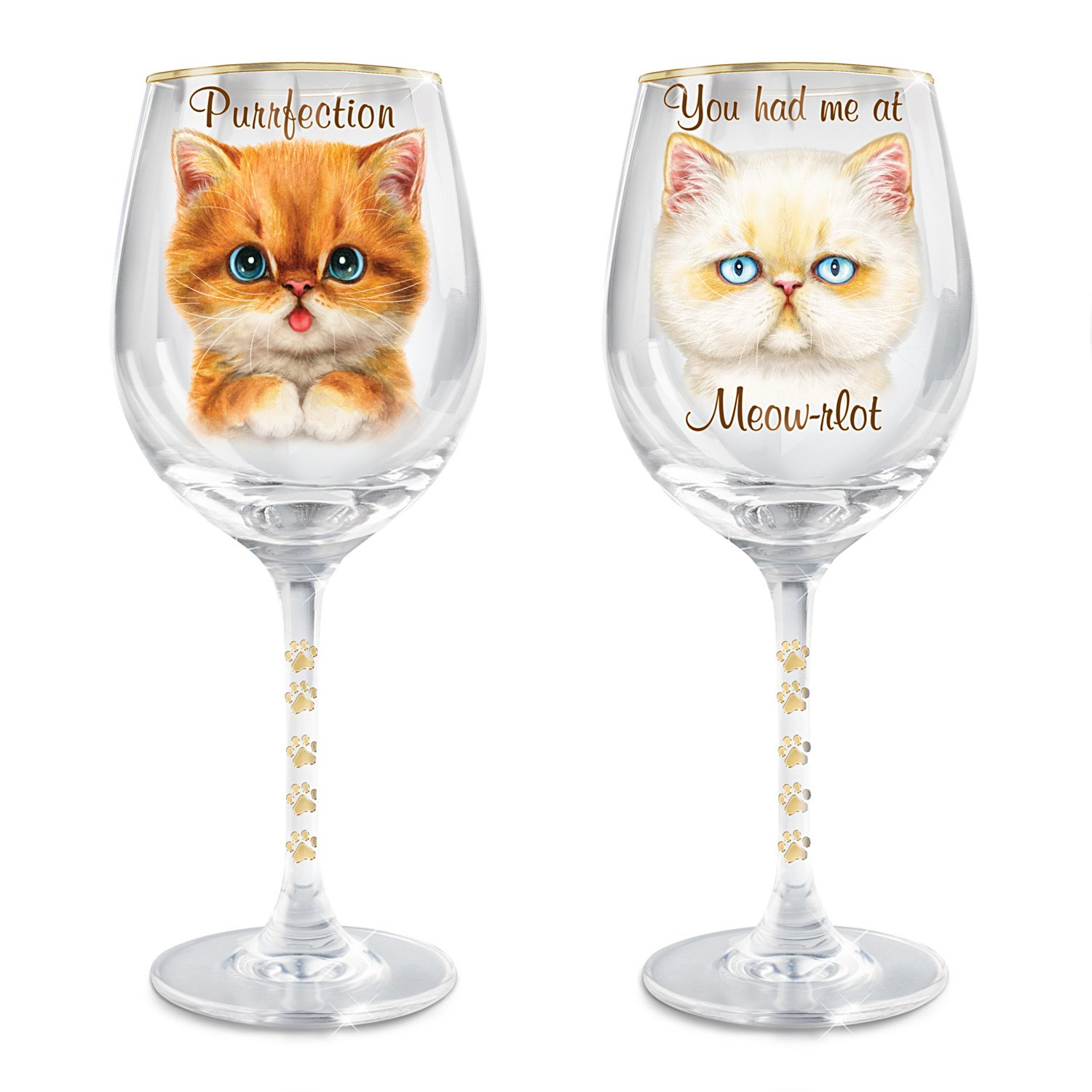 Wine Glasses with Kayomi Harai Cat Art from Bradford Exchange: Set of 2