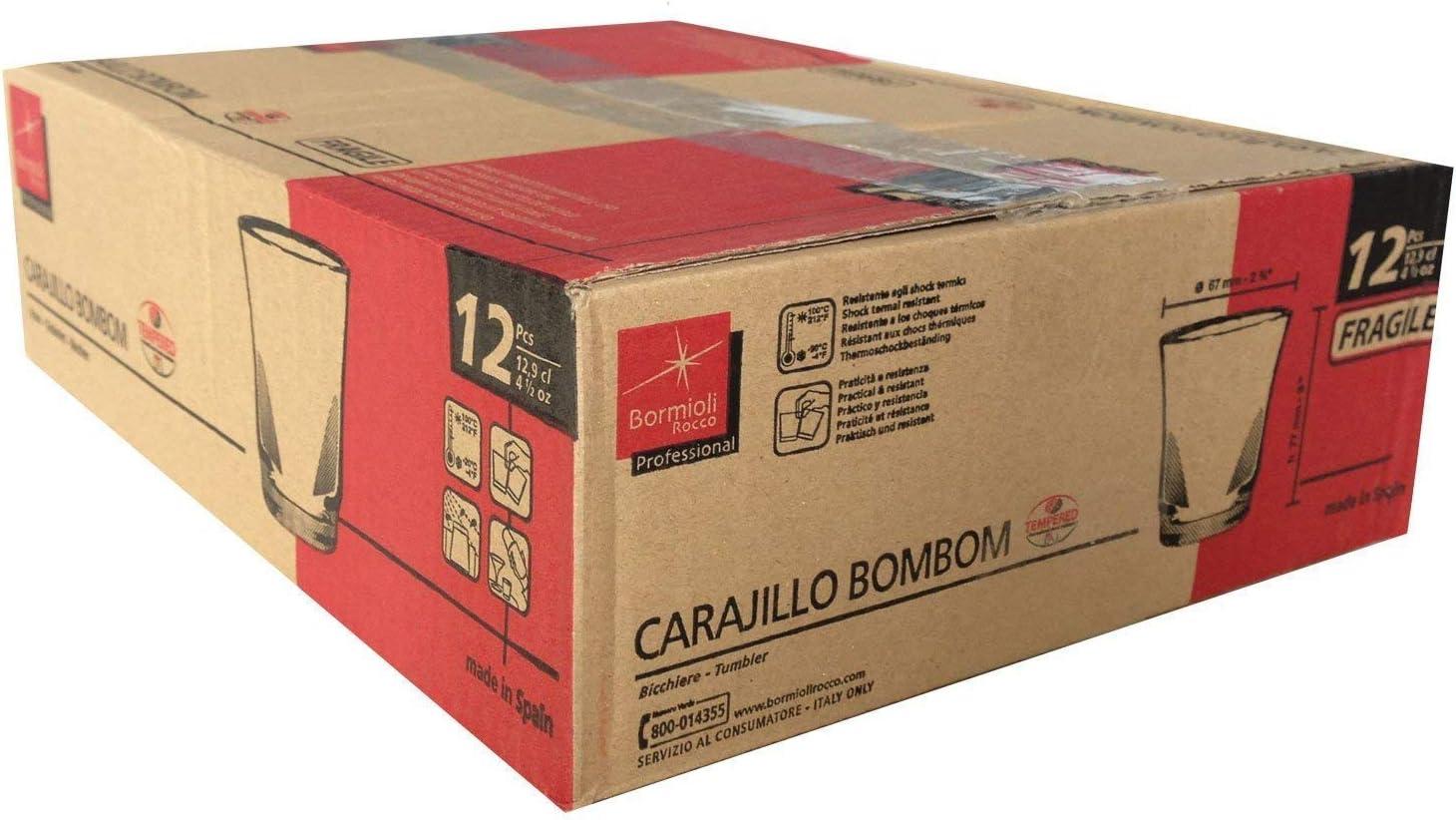 Caja 12 Vasos Carajillo Transparentes - para Bombon o Cortado Café Expreso Tazas Nespresso 12,9cl 4,5 oz - Bormioli Rocco