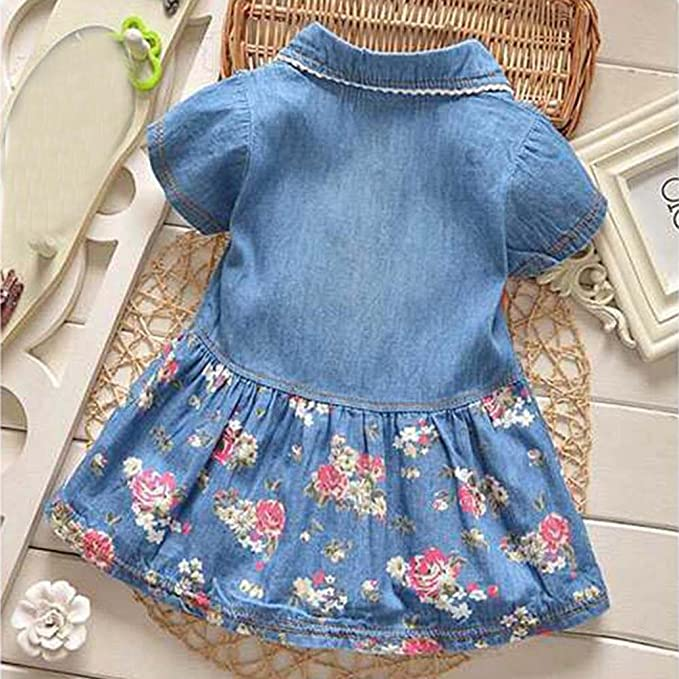 c31539bb743 Amazon.com  Vicbovo Toddler Baby Girl Dress Button Down Floral Print Short  Sleeve Denim Princess Dresses Kids Summer Clothes  Clothing