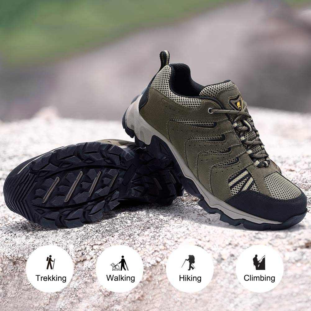 CAMEL CROWN Mens Leather Hiking Shoes Lightweight Slip-Resistant Walking Sneakers for Outdoor Trail Trekking