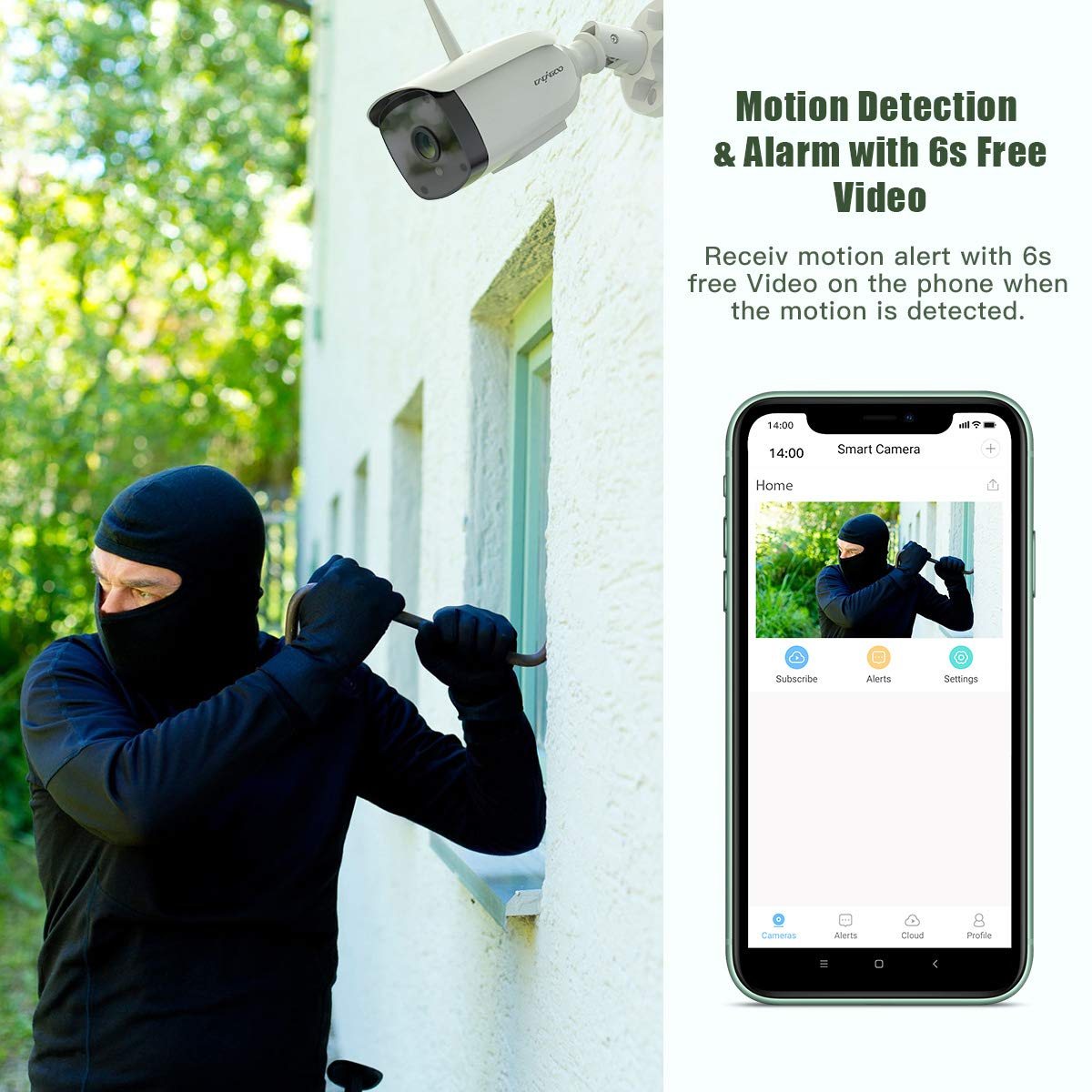 Two-Way Audio 1080P WiFi Wireless Outdoor Camera Surveillance Cameras Home Security Camera Motion Detection for iOS Android Work with Alexa CACAGOO Outdoor Security Camera IP66 Waterproof