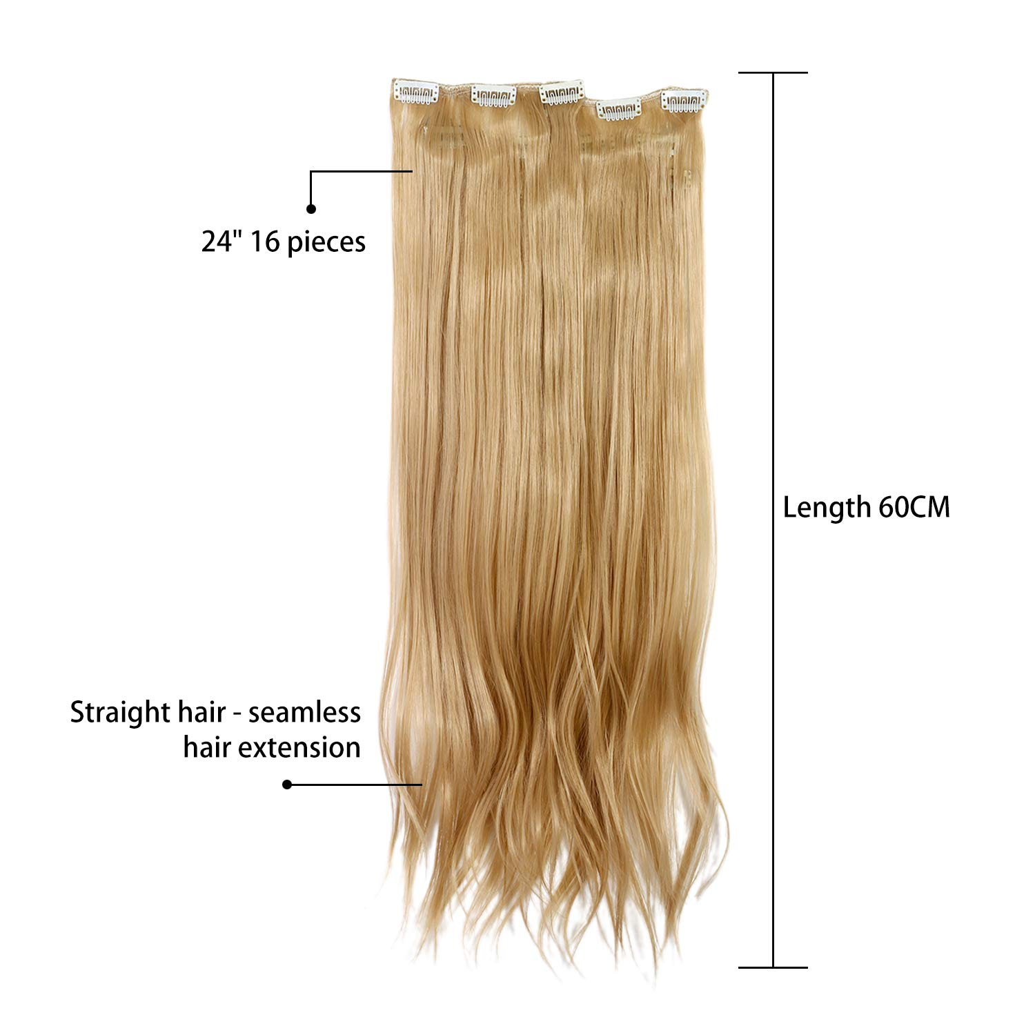 Extensions clip in 60 cm