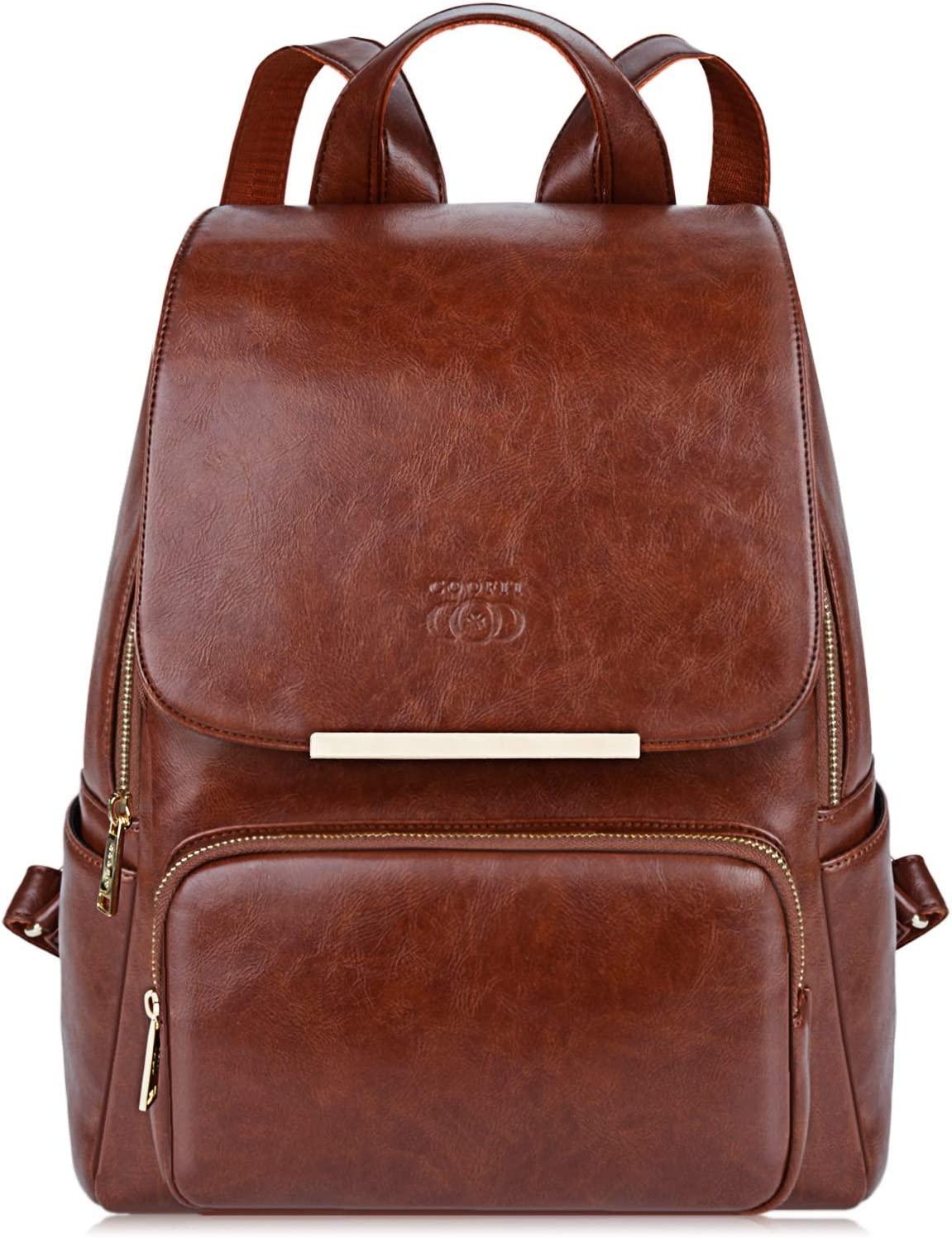 COOFIT PU Leather Backpack School Backpack Casual Daypack with Pouch for Women Brown