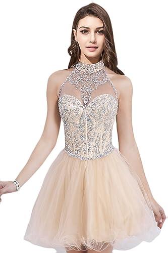 OYISHA Women's Short Beading Halter A-line Homecoming Prom Dresses H09