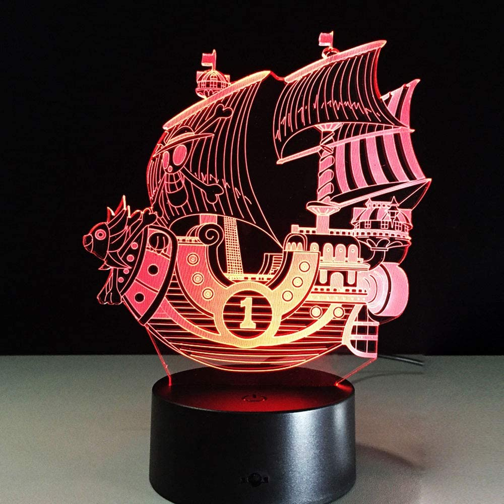 3D Pirate Ship Nightlights 3D LED Night Light Table Desk Optical Illusion Lamps 7 Color Changing Lights for Girls Kids Baby Boys and Room Decor