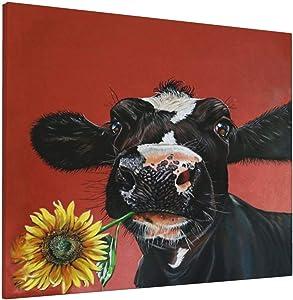 Farm Cow Sunflower Prints Canvas Wall Art Contemporary Rustic Farmhouse Art Decor Cute Funny Animal Wall 16'' X 20'' Ship from USA