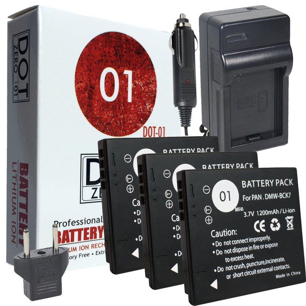 DOT-01 3X Brand 1200 mAh Replacement Panasonic DMW-BCK7 Batteries and Charger for Panasonic DMC-TS30 Digital Camera and Panasonic BCK7