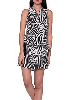 if she Damen Blusen Kleid Mini Zebrastreifen Muster mit Bindegürtel schwarz  weiß Ärmellos locker 8cd4962861