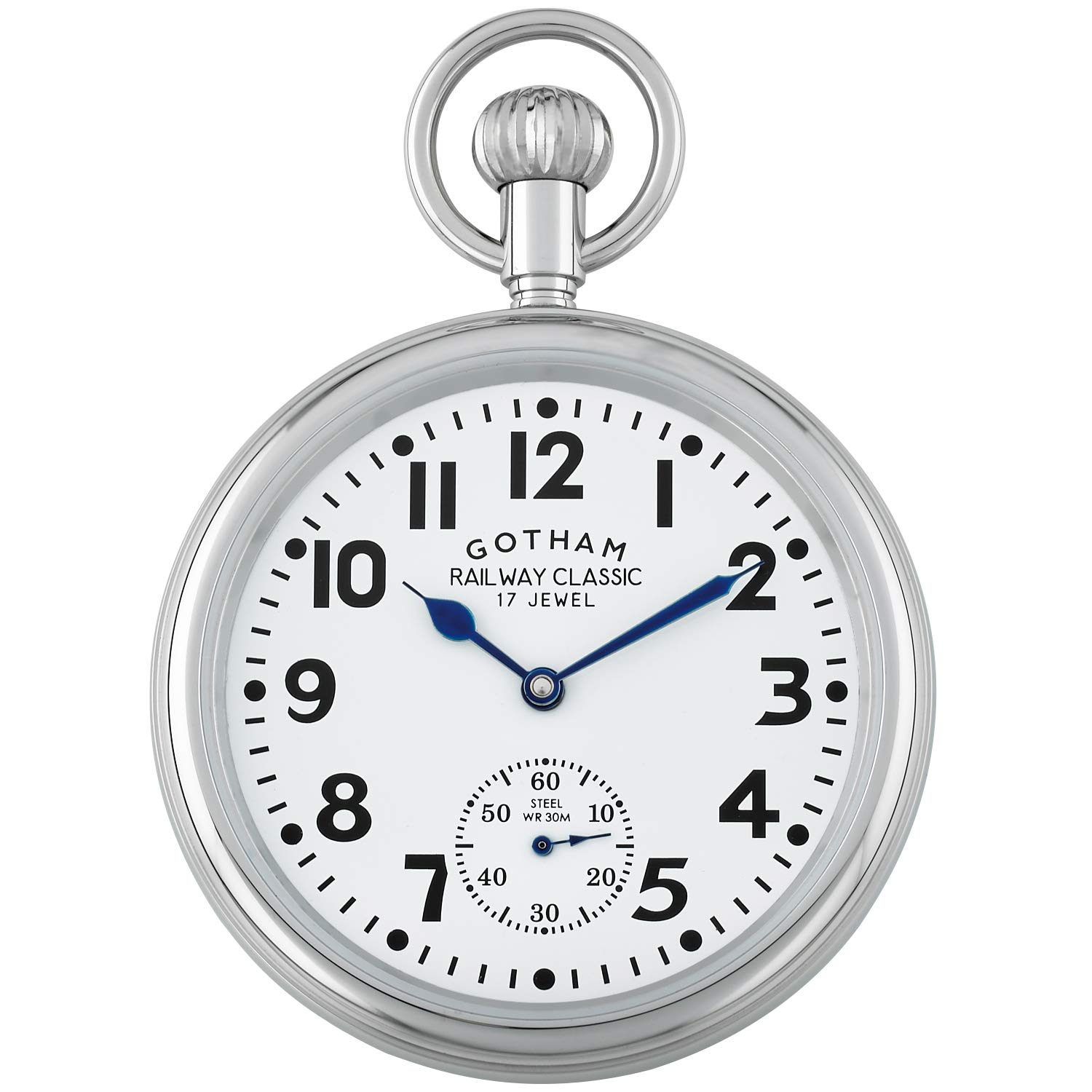 Gotham Men's Stainless Steel Mechanical Hand Wind Railroad Pocket Watch # GWC14104s by Gotham (Image #1)