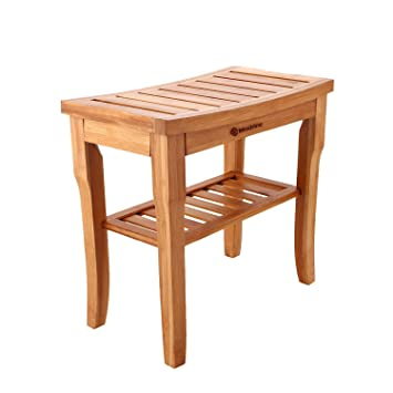 Amazoncom Bamboo Shower Bench Seat Stool With Storage Shelf Bath
