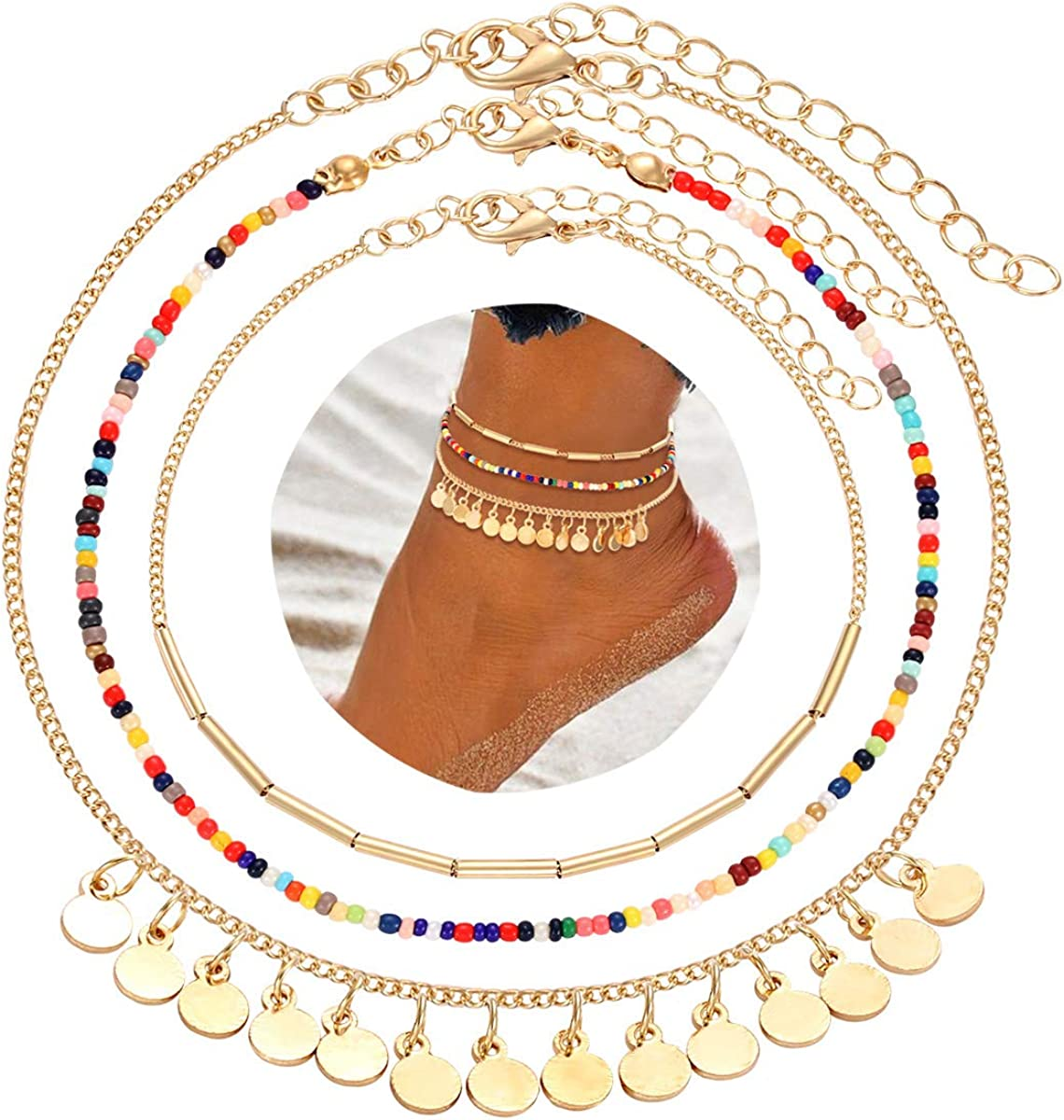 CEALXHENY Anklets for Women Multicolored Bead Anklets Bohemia Metal Bar Sequins Ankle Bracelets Summer Beach Foot Jewelry Set for Girls