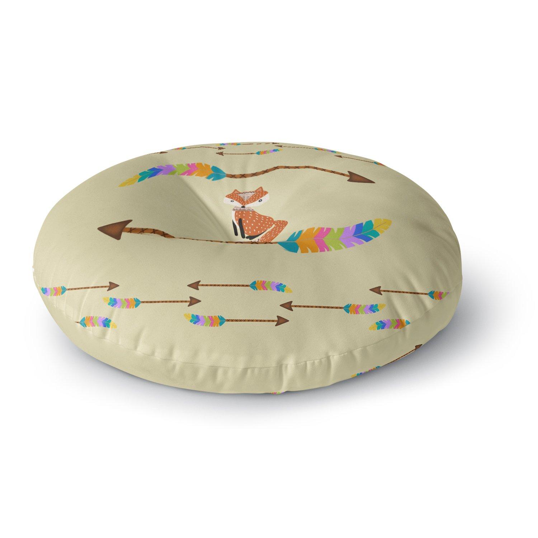 KESS InHouse Cristina Bianco Design Fox Tribal Arrows Yellow Orange Round Floor Pillow, 26''
