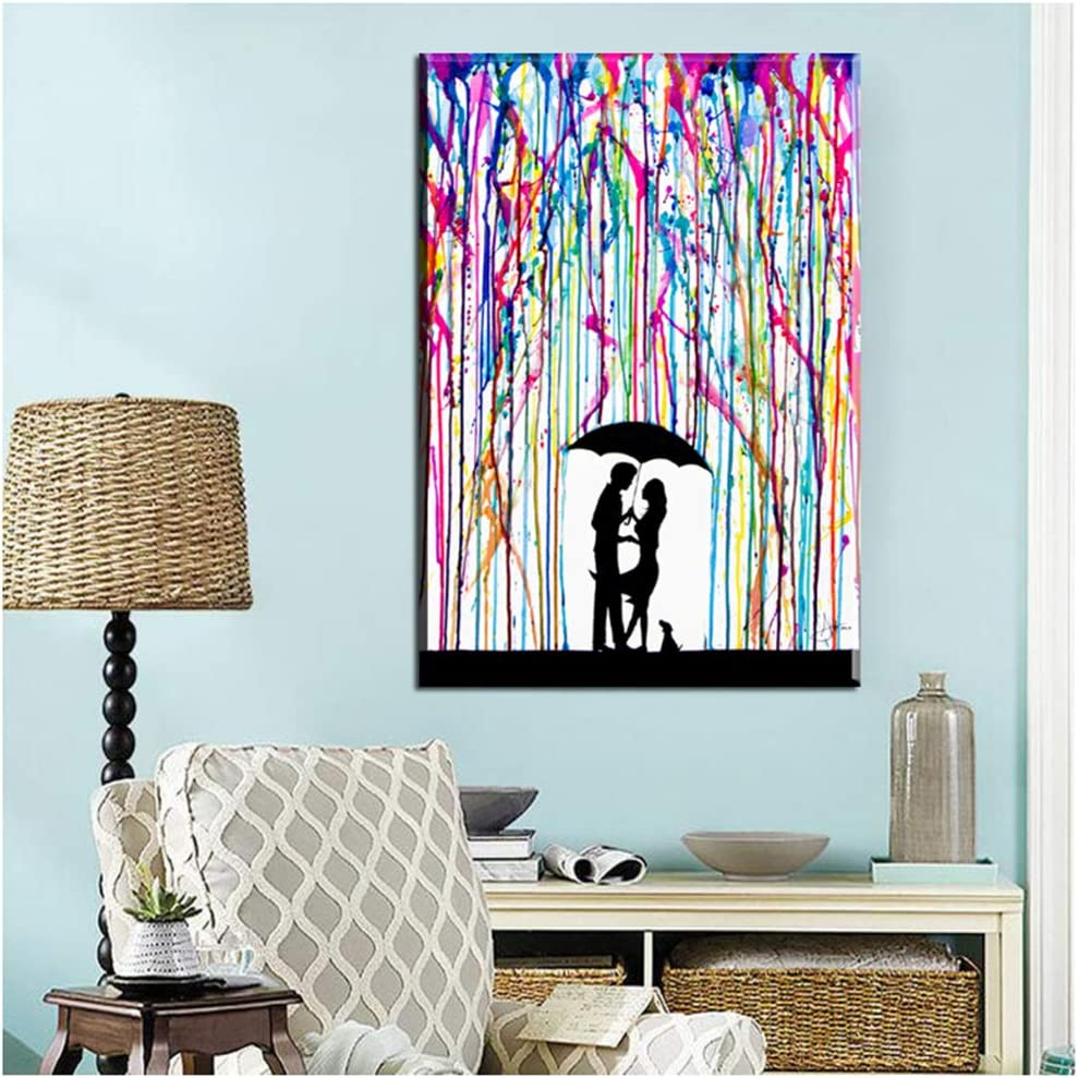Nadeali Art Canvas Painting Abstract Under Color Rain Man Woman Love Posters Art Abstract For Home Decor Picture 60x80 Cm 23 6 X 31 5 No Frame Posters Prints