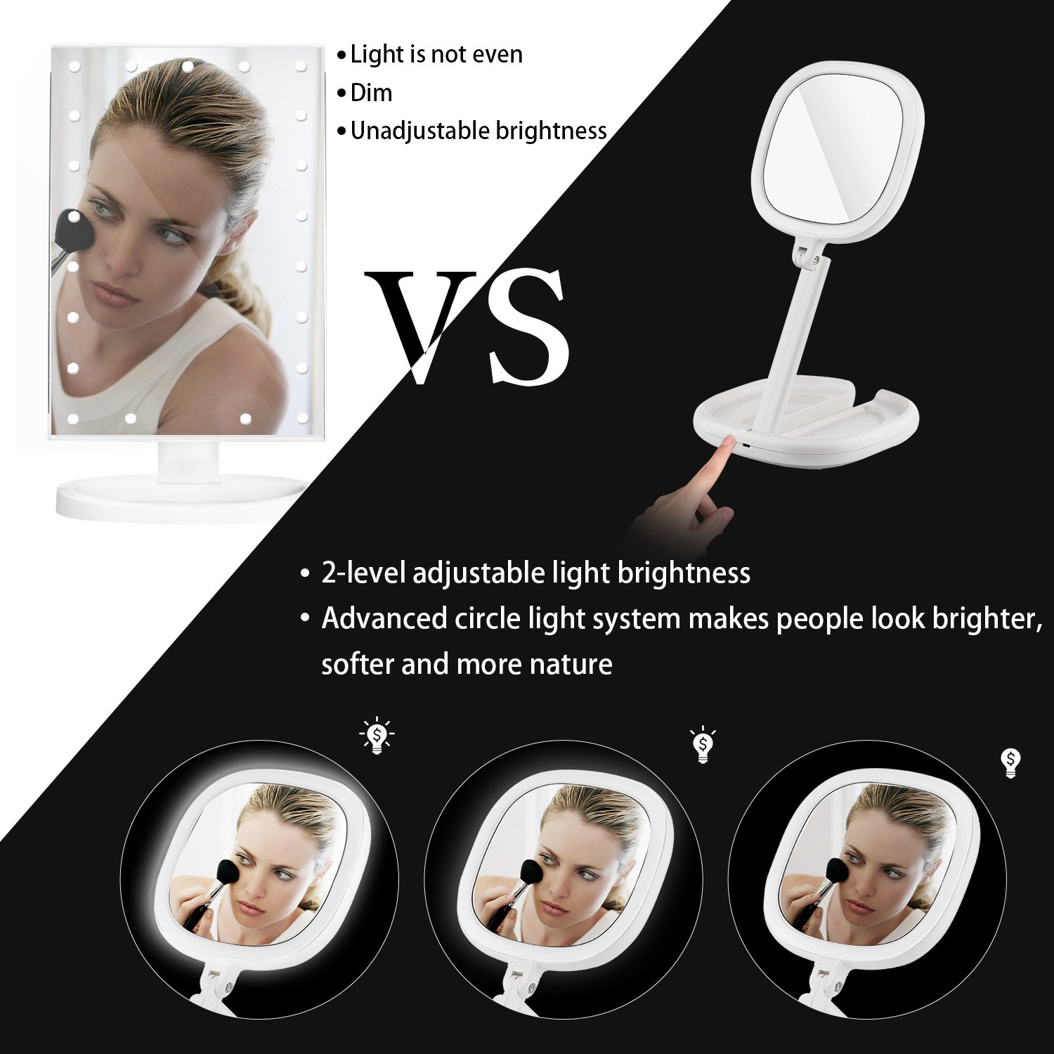 Beautifive Lighted Makeup Mirror, Vanity Mirror with Lights, Double Sided Magnifying Mirror, Brightness&Angle Adjustable, Folding Compact Mirror for Women and Men, LED Mirror for Travel