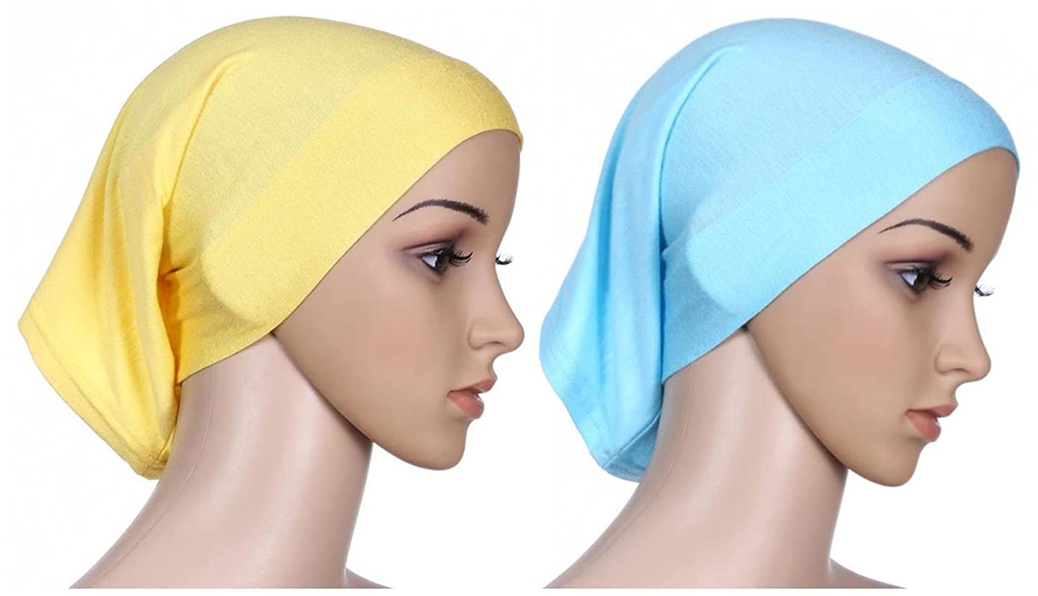 Fortuning's JDS 2pcs Islamic lightweight under scarf tube bonnet cap under scarves inner hijab caps for women Fortuning's JDS