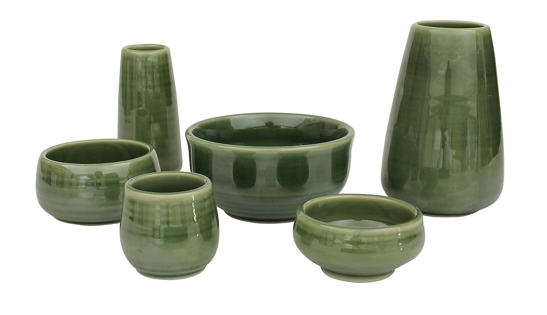 陶器仏具 「もみじ」 6具足セット ミニ仏壇に最適 グリーン B073PW7398 グリーン グリーン