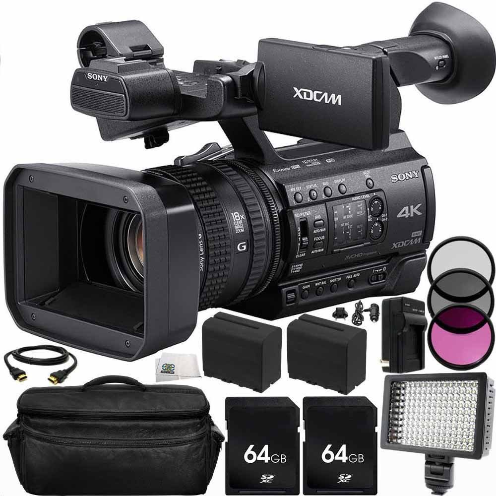Sony PXW-Z150 4K XDCAM Camcorder 64GB Bundle 14PC Accessory Kit. Includes 2 64GB SD Memory Cards + 2 Replacement F970 Batteries + AC/DC Rapid Home & Travel Charger + MORE by SSE