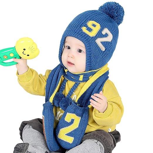 326f161ffdf Amazon.com  FIRERO 2 Pieces Unisex Children Gloves Hat Baby Winter ...