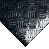 Rubber-Cal Diamond-Grip Floor Mat, Dark Grey, 2mm x 4 x 15-Feet