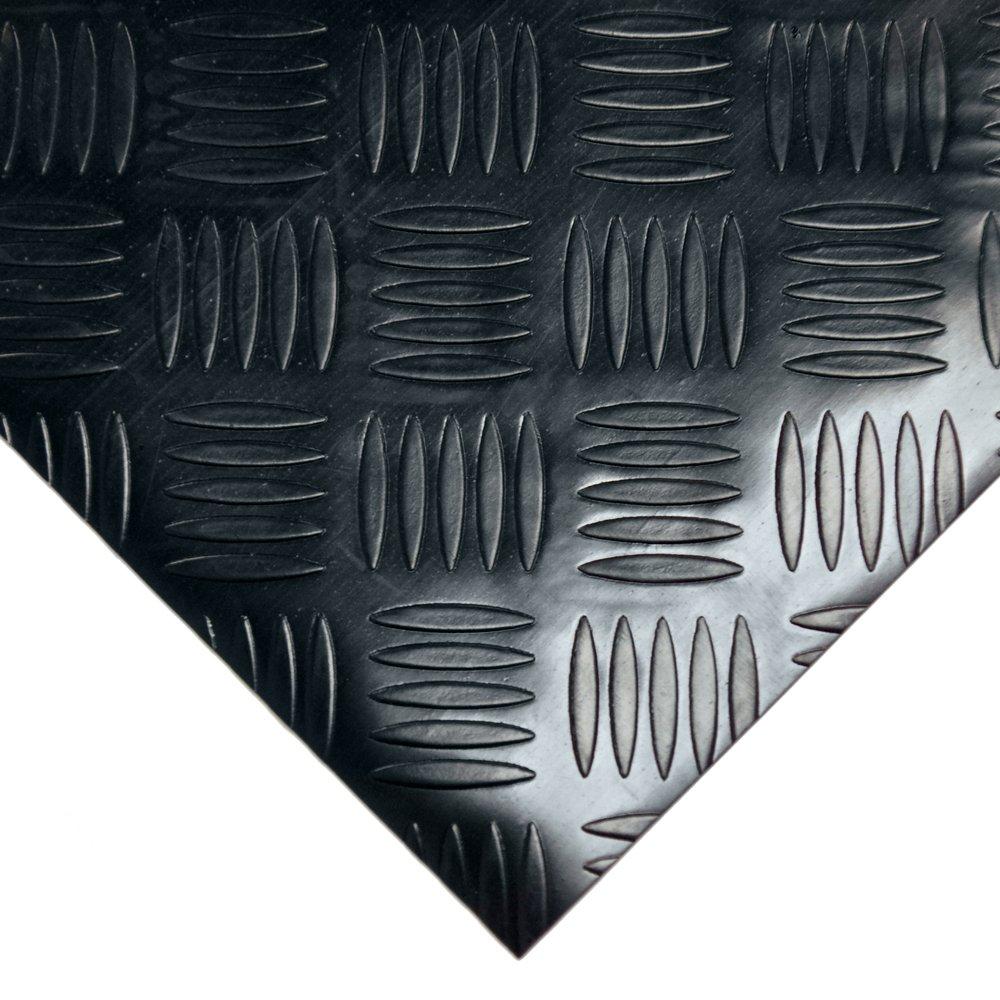 Rubber-Cal ''Diamond-Grip Resilient Flooring Mat - 2mm x 4ft x 15ft Rubber Flooring Rolls - Black by Rubber-Cal (Image #2)